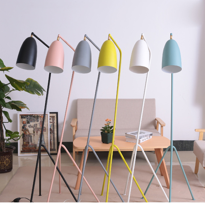 Nordic Modern Wrought Iron E27 LED Adjustable Floor Lamp 110V 220V Living Room Bedside Study Hotel Room Floor Lamp