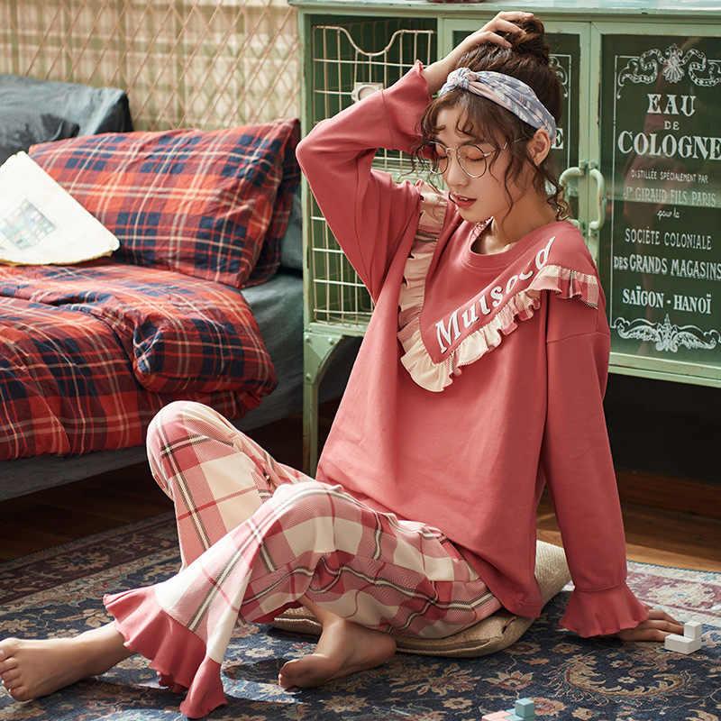 Женские пижамные комплекты, милая синяя Пижама, Костюм Пижама, женская рубашка с длинным рукавом + штаны, 2 предмета, домашняя одежда для сна, пижама, домашняя одежда