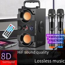 Grande potência portátil alto falante bluetooth coluna sem fio ao ar livre subwoofer boombox soundbar 3d estéreo centro de música apoio aux tf fm