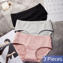 3Pcs/lot Solid Comfortable Mid Waist Seamless Pure Cotton Crotch Girl Women Panties Sexy Breathable Underwear