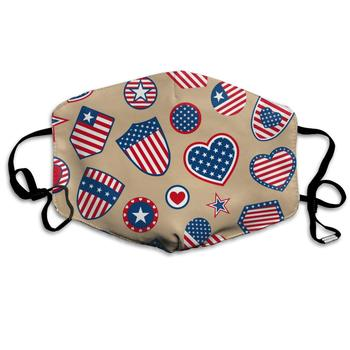 Retro Usa Flag Heart Shield Washable Reusable   Mask, Cotton Anti Dust Half Face Mouth Mask For Kids Teens Men Women With french bulldog traces and heart flag washable reusable mask cotton anti dust half face mouth mask for kids teens men women