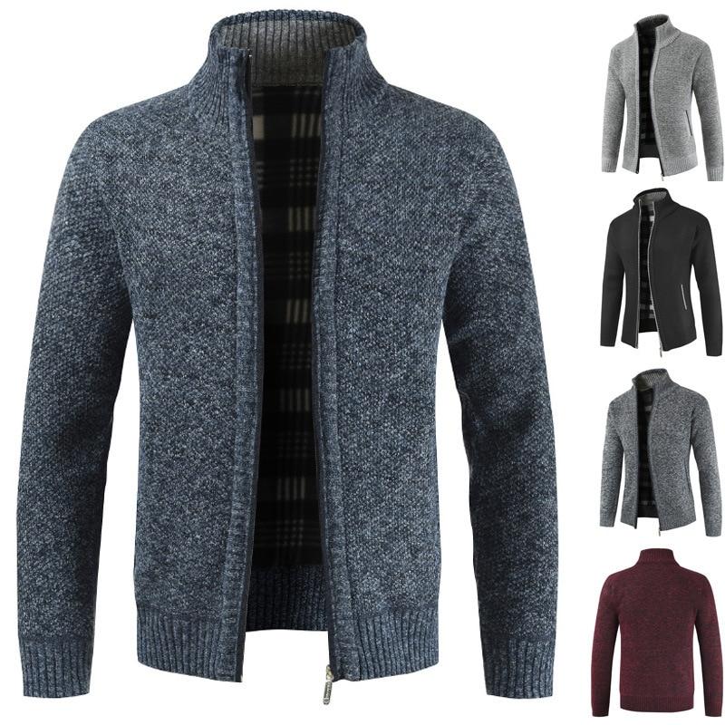 H27c42f947b71444a92b0f364542d58f8I NEGIZBER 2019 Autumn Winter New Men's Jacket Slim Fit Stand Collar Zipper Jacket Men Solid Cotton Thick Warm Jacket Men