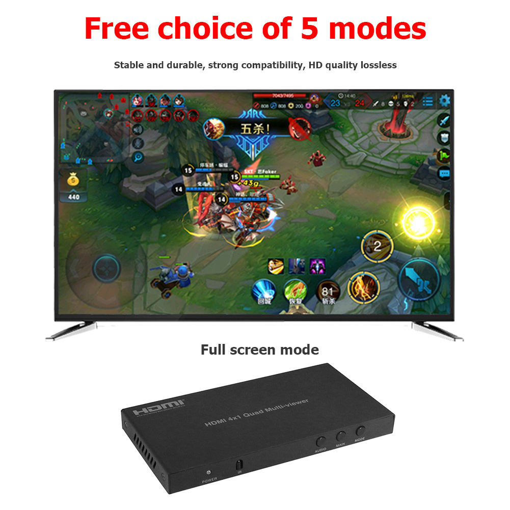 4x1 HDMI Switc 1080p HDMI Multi Viewers Classic Colors Simple Enduring Her Screen Splittersfor PS PC DVD STB