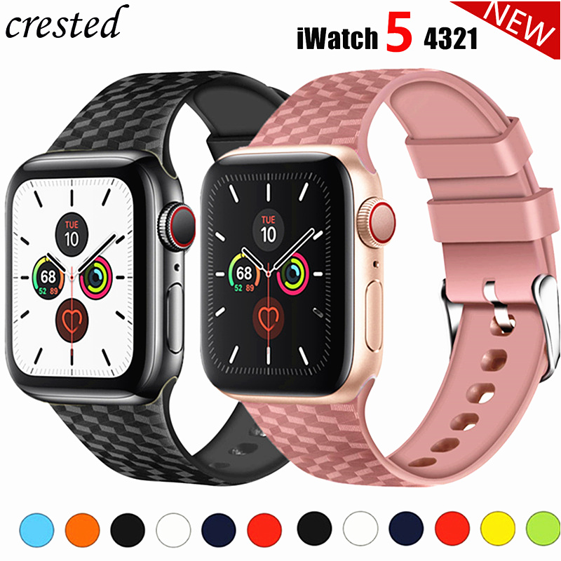 Silicone Strap for Apple watch band 44 mm 40mm iwatch band 38mm 42mm 3D Texture Sport watchband bracelet Apple watch 5 4 3 21 38 xiaomi mi band 4