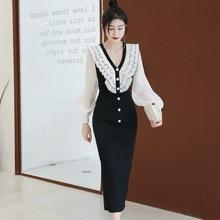 2019 Autumn Winter Package Hip Dress Women V-neck Ruffle Singer Button Wrap Bodycon Casual Dinner Dresses for