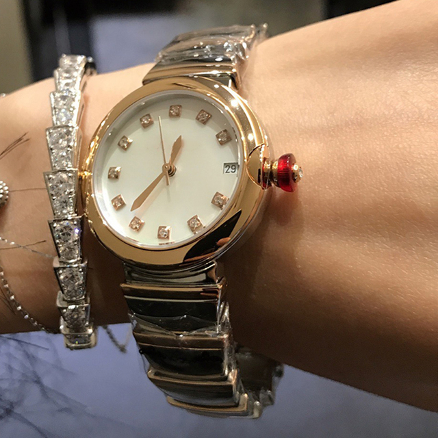 Hot Brand Fashion Luxury Watch Green Dial Mother of Pearls Dial Automatiic Watch Snake Strap Rose Gold Color Stainless Steel 5
