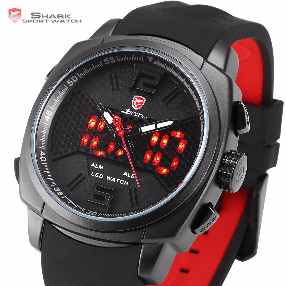 Shark Sport Watch Men Cool New Whitetip Reef LED Dual Time Zone Date Alarm Top Brand Silicone Quartz-Watch Relogio Masculino