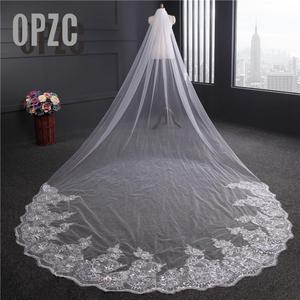 Image 1 - Voile Mariage 4M One Layer Lace Edge White Ivory Cathedral Wedding Veil Long Bridal Veil Cheap Wedding Accessories Veu de Noiva