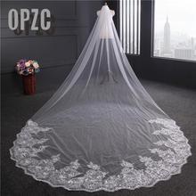 Voile mariage 4 m uma camada borda do laço branco marfim catedral véu de casamento longo véu nupcial barato acessórios casamento veu de noiva