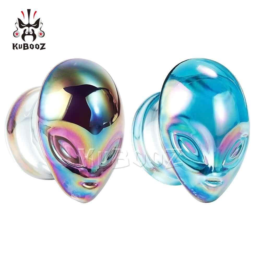 Colorido estrangeiro de vidro orelha corpo jóias brincos expansores parafuso piercing plugues streachers moda presente para mulheres por atacado