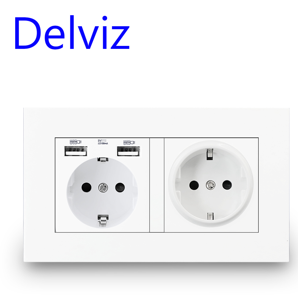 Delviz EU Standard USB socket Double Outlet16A Quality power panel AC 110 250V 146mm   86mmDouble frame Wall USB Power Outlet
