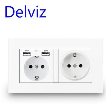 Delviz EU Standard USB socket, Double Outlet,16A Quality power panel AC 110~250V 146mm * 86mm,Double frame Wall USB Power Outlet fiko eu standard white black gold crystal glass panel ac 110 250v 16a wall power socket16a 2100ma electrical wall power socket