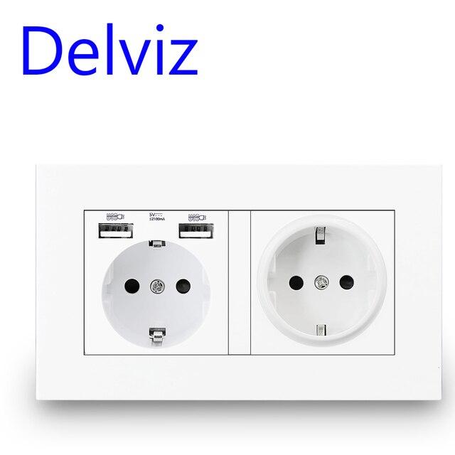 Delviz Standard ue gniazdo USB, podwójne gniazdko, 16A jakość panel zasilania AC 110 ~ 250V 146mm * 86mm, podwójna ramka do obrazu listwa sieciowa USB
