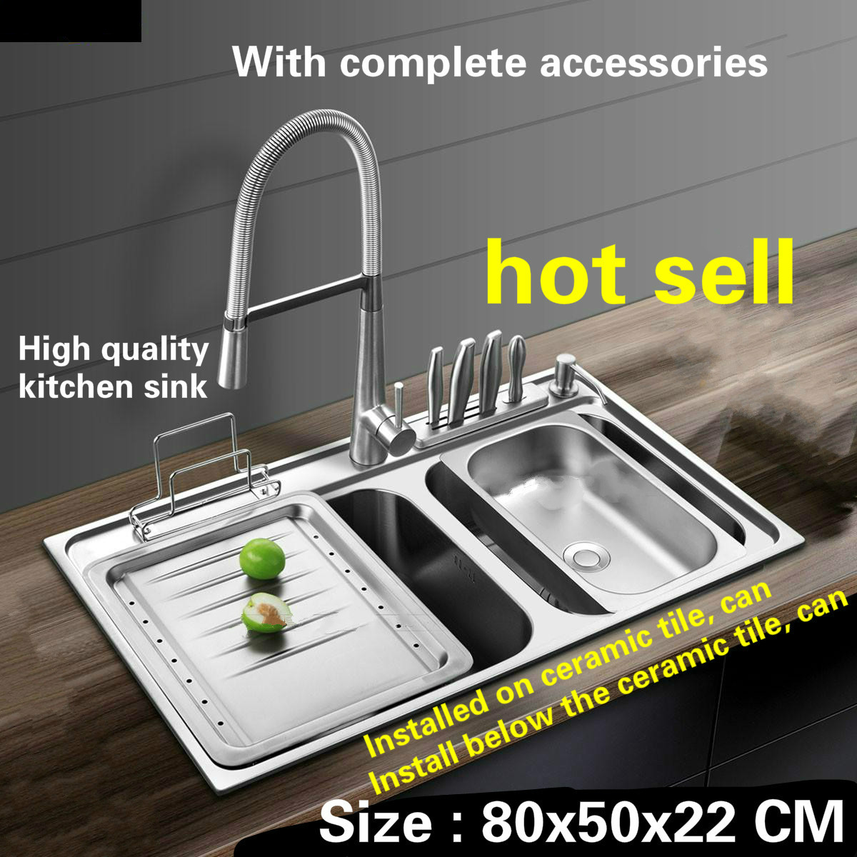 Tangwu Luxurious Kitchen Sink 1 Mm Thick Food Grade 304 Stainless Steel Durable Large Double Slot Whole Drawing  80x50x22 CM