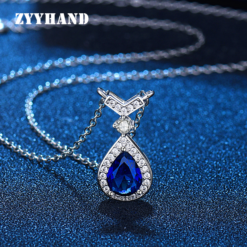 Royal Blue Women Zircon Pendant Necklace 2021 Girl Drop Water 3 Colors Clean Stone AAA Zirconite Neck Jewelry