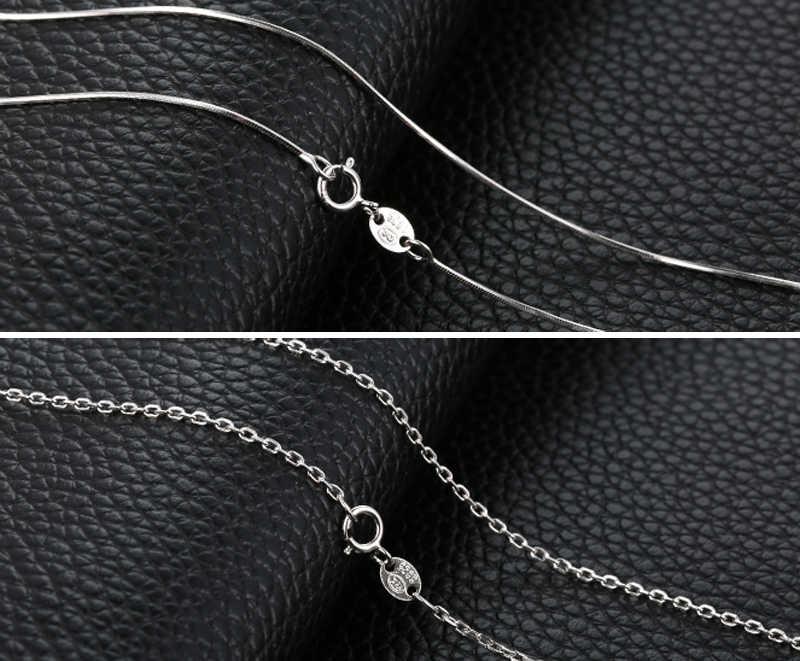 Mają certyfikat! 100% oryginalny 925 solidna srebrny Link łańcuchy naszyjniki Fit For wisiorek urok ślub Neaklace dla kobiet XL8059