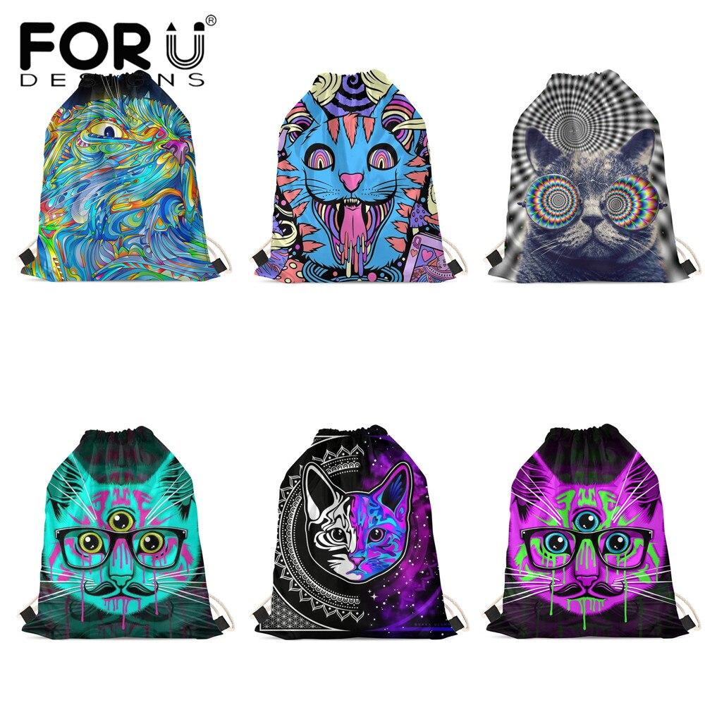 FORUDESIGNS Fashion Drawstring Bag Colorful Cool Cats Printing Boys Girl Backpacks Soft Beach Bag Lady Storage Bags Sac Main