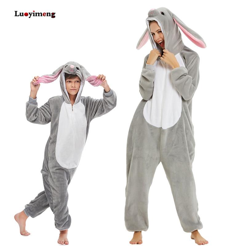 New Kids Rabbit Kigurumi Pajamas For Adults Women Pijama Suit Animal Cartoon Unicorn Onesies Boys Costumes Winter Girls Jumpsuit