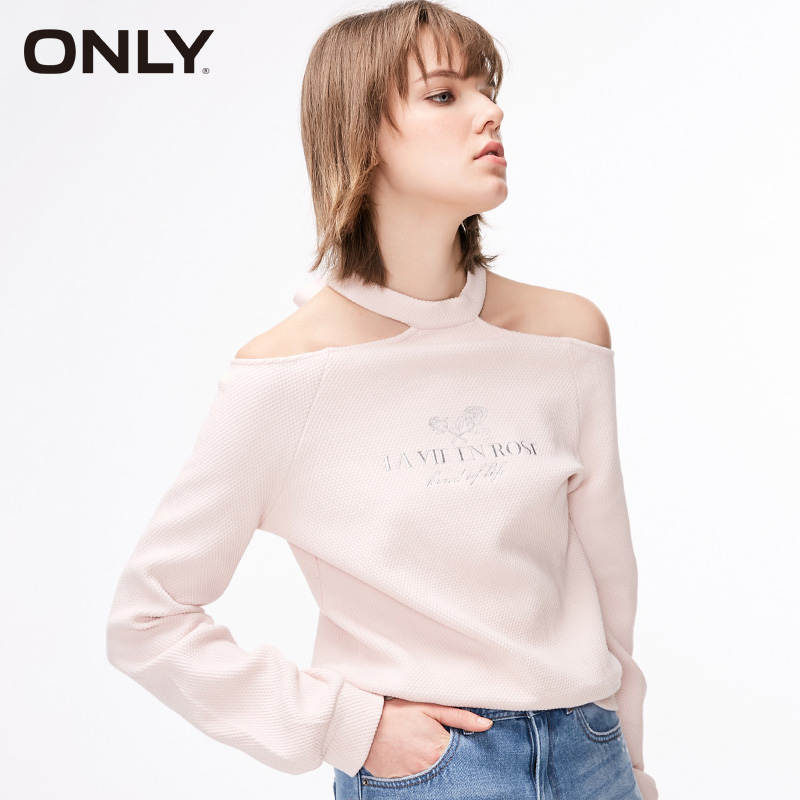 ONLY Women Spring Letter Printed Truffle Shoulder Tie Long Sleeve Pullover   11919S570