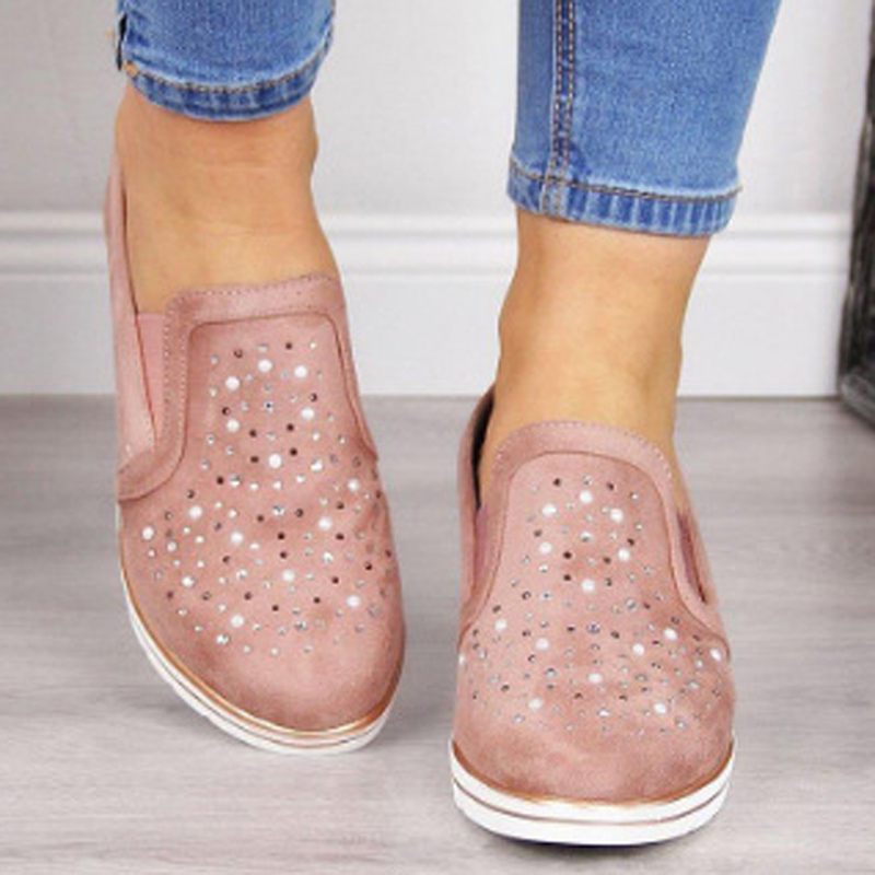 Woman Spring Autumn Loafer Light Weight Platform Casual Shoes Rhinestone Shining Women Shoes Silver Color