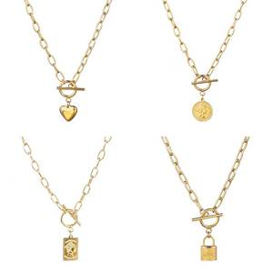 Stainless Steel Multi Layers Chain Necklace With Heart Lock Women Punk Padlock Pendant Necklace Thick Necklace Couple Necklace