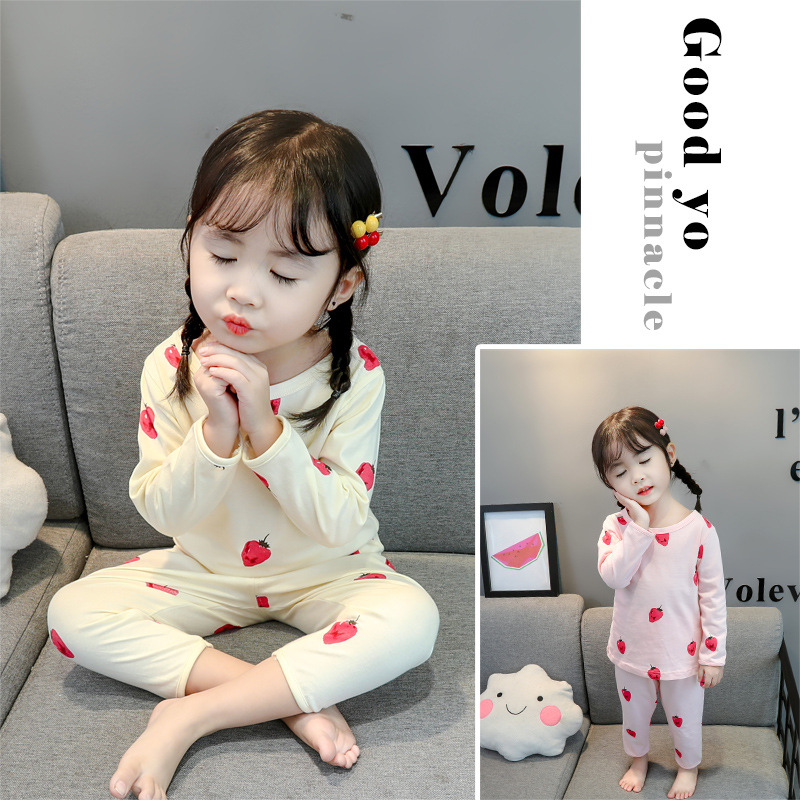 CHILDREN'S Strawberry Pajamas Suit Autumn Clothing Thin 1-3-5 A Year Of Age Baby Girls CHILDREN'S Underwear Tracksuit