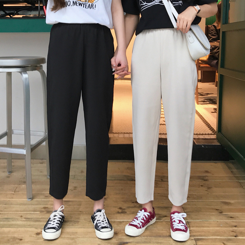 Women Loose Harem Pants 2020 Spring Summer Fashion Female Solid Higt Wait Vintage Straight Pant Casual Trousers Plus Size S-4XL