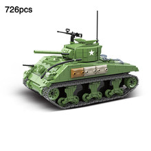 US Army M4A1 Sherman Tank compatible legoingly Military ww2 Tank Building Blocks Soldier Figures Weapon Guns Toys For Boys Gift(China)