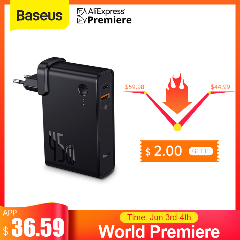 Baseus GaN Power Bank 10000mAh with USB Charger 45W PD Fast Charging Charger Battery in one