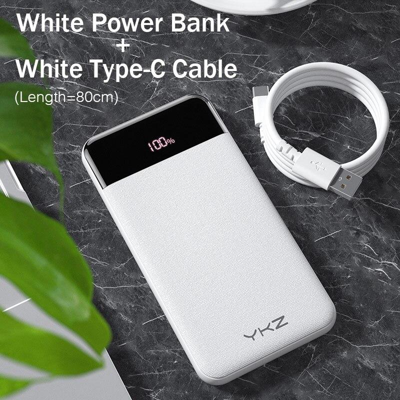 YKZ QC 3,0 внешний аккумулятор 10000 мАч светодиодный портативный аккумулятор PD Быстрая зарядка 12 В внешний аккумулятор для iPhone Xiaomi Mi с USB - Цвет: White with Cable