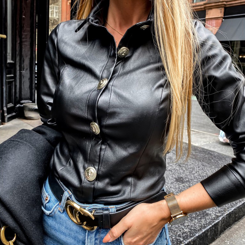 Spring Autumn Women Fashion Lapel Daily Wild Style Shirts Lady Black Casual Button Basics Faux Leather Long Sleeve Shirts D30