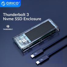 ORICO Thunderbolt 3 M.2 NVME Support de boîtier SSD 40Gbps 2 to USB C Transparent boîtier SSD avec câble C à C pour Mac Windows