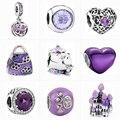 Новинка, фиолетовое сердце, Бабочка, замок, сверкающие бусины-шармы из циркония, подходят для оригинальных браслетов Pandora, Женские Ювелирные...