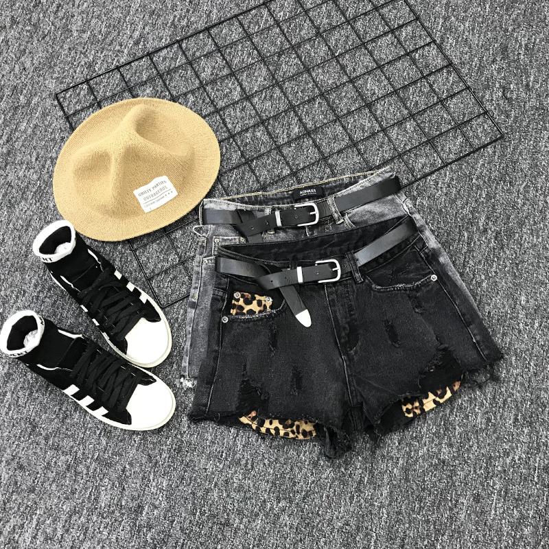 2020 Summer Hot Sale Beach Shorts Trousers Short Jeans Women High Waist Loose F Leopard Denim Hole Female Slim Fit Shorts