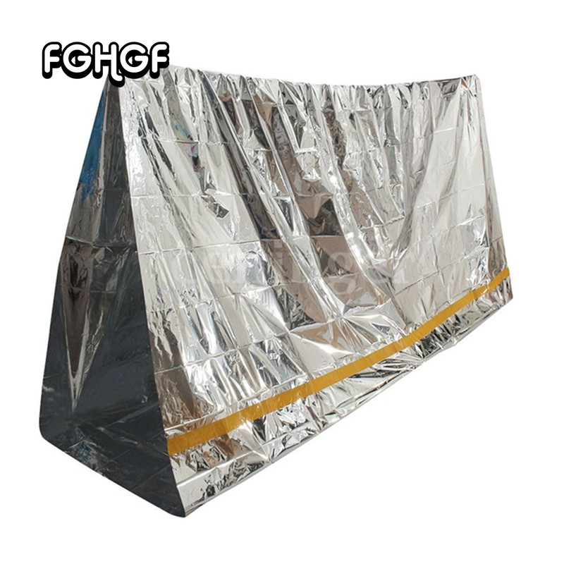 1pcs Camping Portable Emergency Blanket First Aid Survival Rescue Curtain Tent Tools Outdoor Hiking Life-saving Foil Thermal Kit