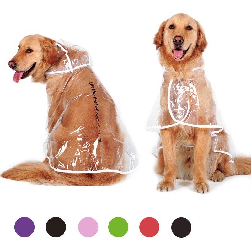 XS-6XL Dog Transparent Raincoat Pet Jacket for Rain Adjuastable Waterproof Coat for Small Medium Large Dogs Hooded Windproof 20E