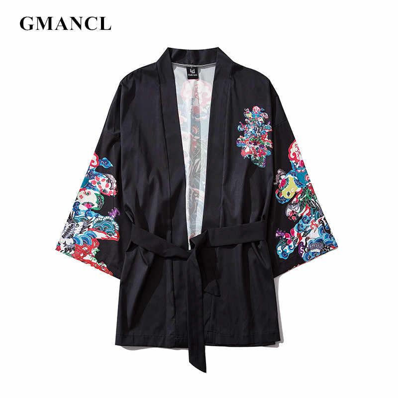Stile cinese Degli Uomini Streetwear Moda Crane stampato Casual Cardigan Kimono Accappatoio Giubbotti Giapponese Hip Hop Tuta Sportiva Allentata