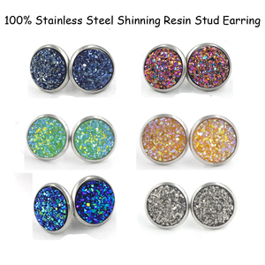 Fnixtar 12mm 100% Stainless Steel Shinning Resin Stud Earring for Women Top Quality Fashion Earrings Party Ear Jewelry(China)
