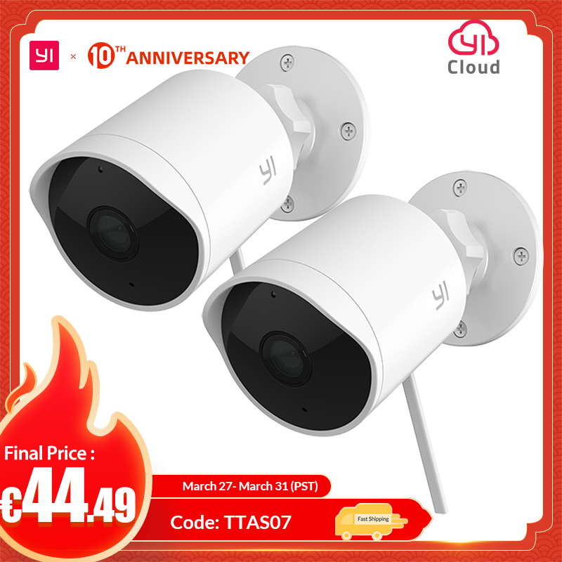 YI Outdoor Security Camera 2pc 1080P 2.4G Wi-Fi IP Waterproof Night Vision Surveillance System