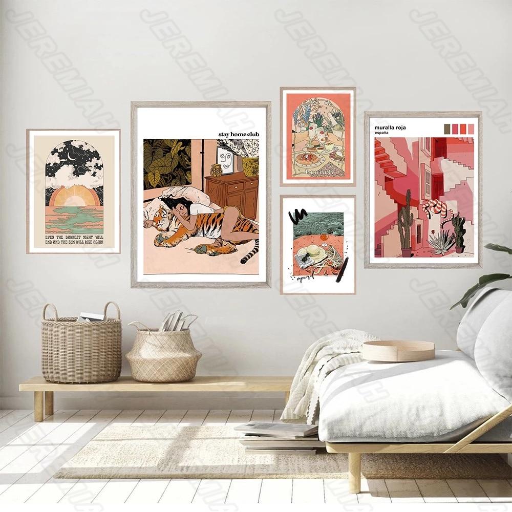 Домашний декор, холст с изображением тигра и девушки, плакат в скандинавском стиле, водостойкая чернильная печать, художественная живопись,...