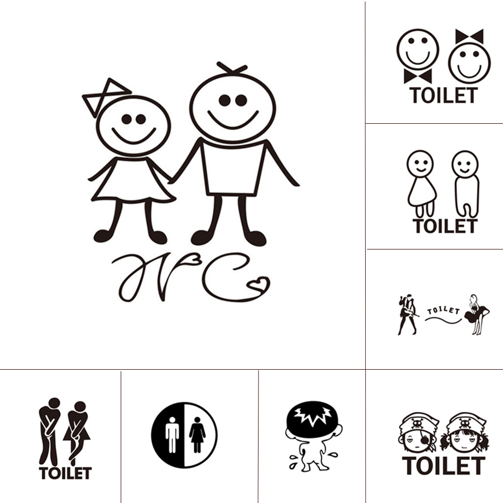 10 Style WC Wall Sticker for Toilet Door Waterproof Stickers Bathroom Decor house Family Home Decoration mural WC wallpaper