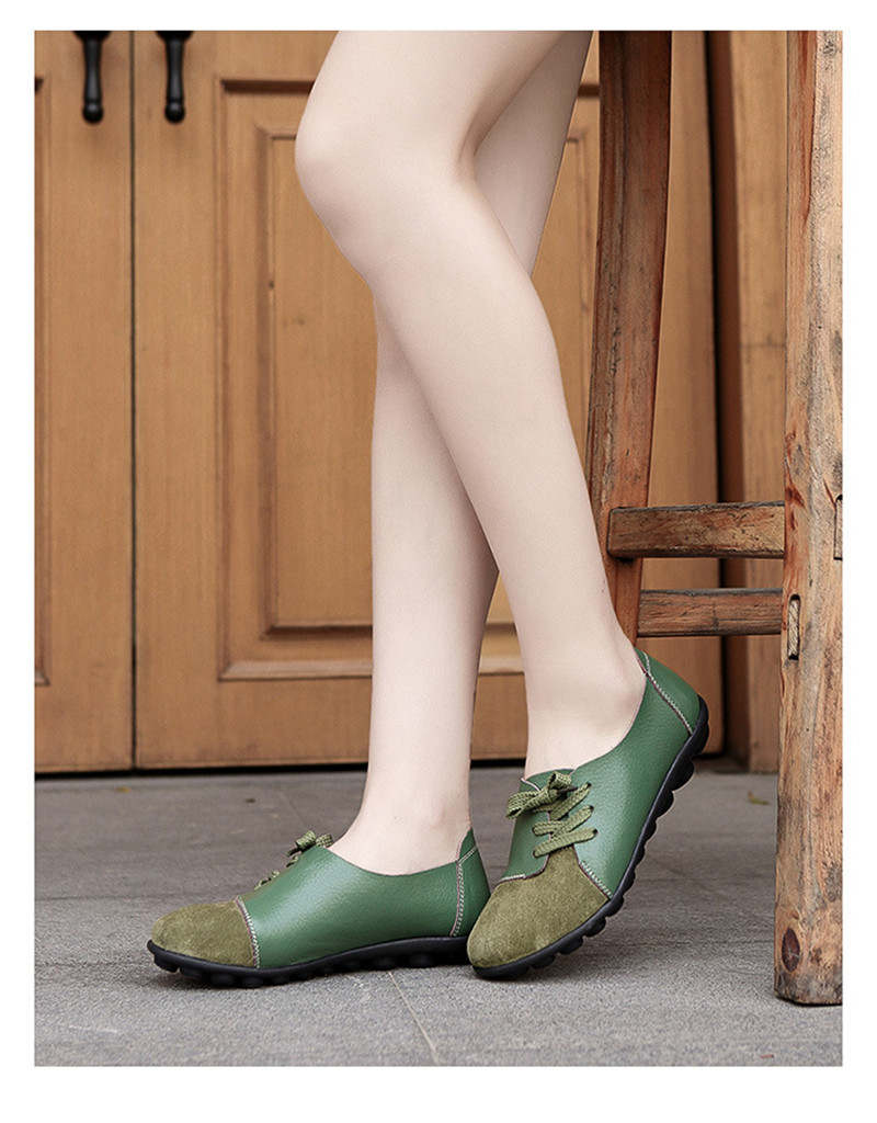 2019 New Leather Women Plus Size Sewing Flats Moccasins Loafers Ballet Flats Women Comfortable Soft Casual Shoes Ladies VT634 (29)