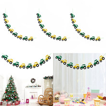 3x Cool Tractor Auto Vilt Banner Baby Shower Kinderen Verjaardag Doopfeest Opknoping Decoraties 3.28 Yards(China)