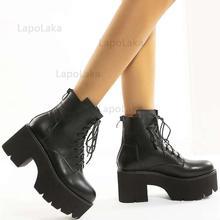 LapoLaka-Botines modernos de tacón cuadrado para mujer, botines con punta redonda, plataforma con decoración de Metal, botas de motocicleta a la moda