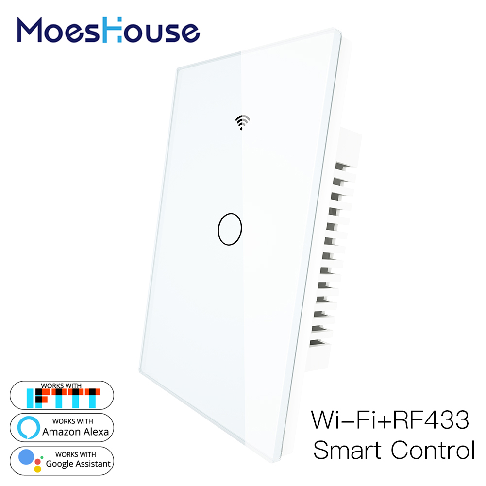 RF433 WiFi Smart Wall Light Switch Glass Panel Smart Life Tuya APP Remote Control Works With Alexa Google Home 1 Gang