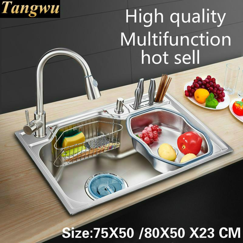 Tangwu Fashion Kitchen Food Grade Stainless Steel Water Trough Large Single Groove Fittings Is Complete 75X50 80X50X23 CM