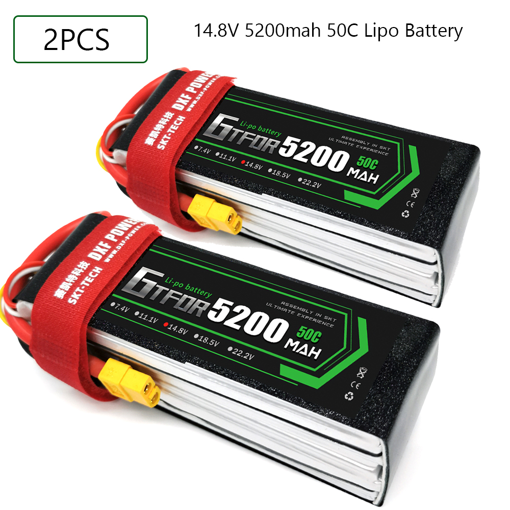 GTFDR 4S <font><b>14.8V</b></font> <font><b>5200mah</b></font> 50C-100C Lipo Battery 4S XT60 T Deans XT90 EC5 50C For Racing FPV Drone Airplanes Off-Road Car Boats image