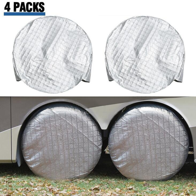 AUDEW 4PCS/Set Aluminum Foil Coated Car Tire Cover For RV Truck Trailer For Camper Motorhome GTC3Hx2 Waterproof Wheel Cover