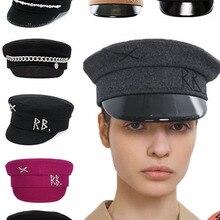 New Winter Women Hats Newsboy Caps Flat letter Militray Caps British Vintage Visor cap