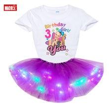 Meninas conjuntos de roupas aniversário menina número tshirt verão crianças roupas princesa moda crianças criança tshirt + led vestido jojosiwa